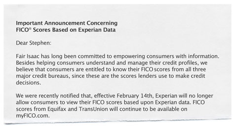 official release from FICO regarding Experian